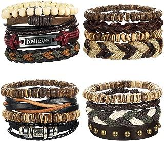 LOYALLOOK 8-34pcs Mens Leather Bracelet Wrap Cuff...