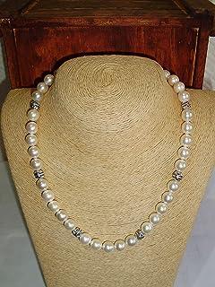 Gargantilla de perla de nácar y plata. Tamaño 50 cm.
