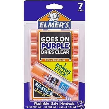 Elmer's Disappearing Purple Glue Sticks with Bonus Re-Stick Glue Stick, 6 + 1 Pack