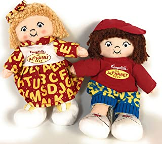 7 Inch Campbell's Kids The Alphabet Soup Blonde Little Girl and Brown Haired Boy Bean Bag Dolls