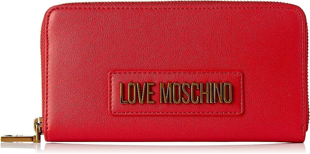 Love moschino, portafogli, porta carte di cretido da donna, in pelle sintetica, rosso JC5627PP0A