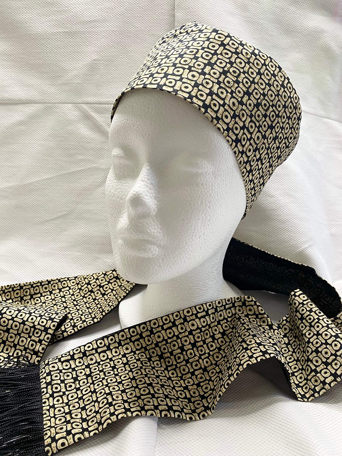 Black Gold African Tampa Mall Print San Diego Mall Hat Scarf and Sash
