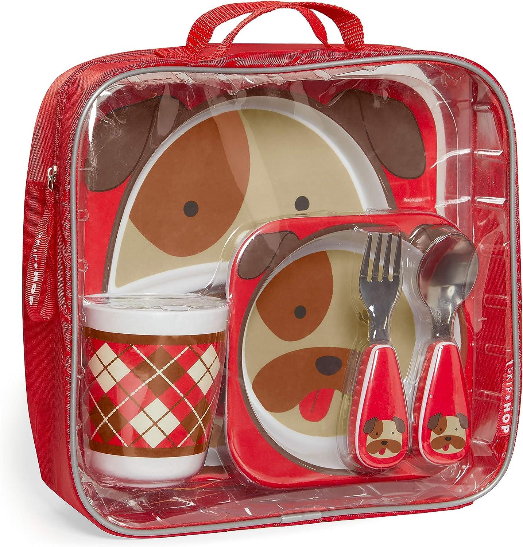 Skip Hop Toddler Mealtime Gift Set: Matching Plate, Bowl, Tumbler & Utensils, Bulldog