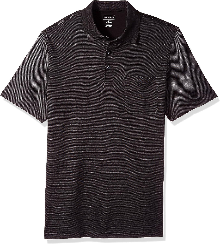 Van Heusen Men's Superior Big and Genuine Free Shipping Tall Jacquard Sleeve Short Polo Stripe