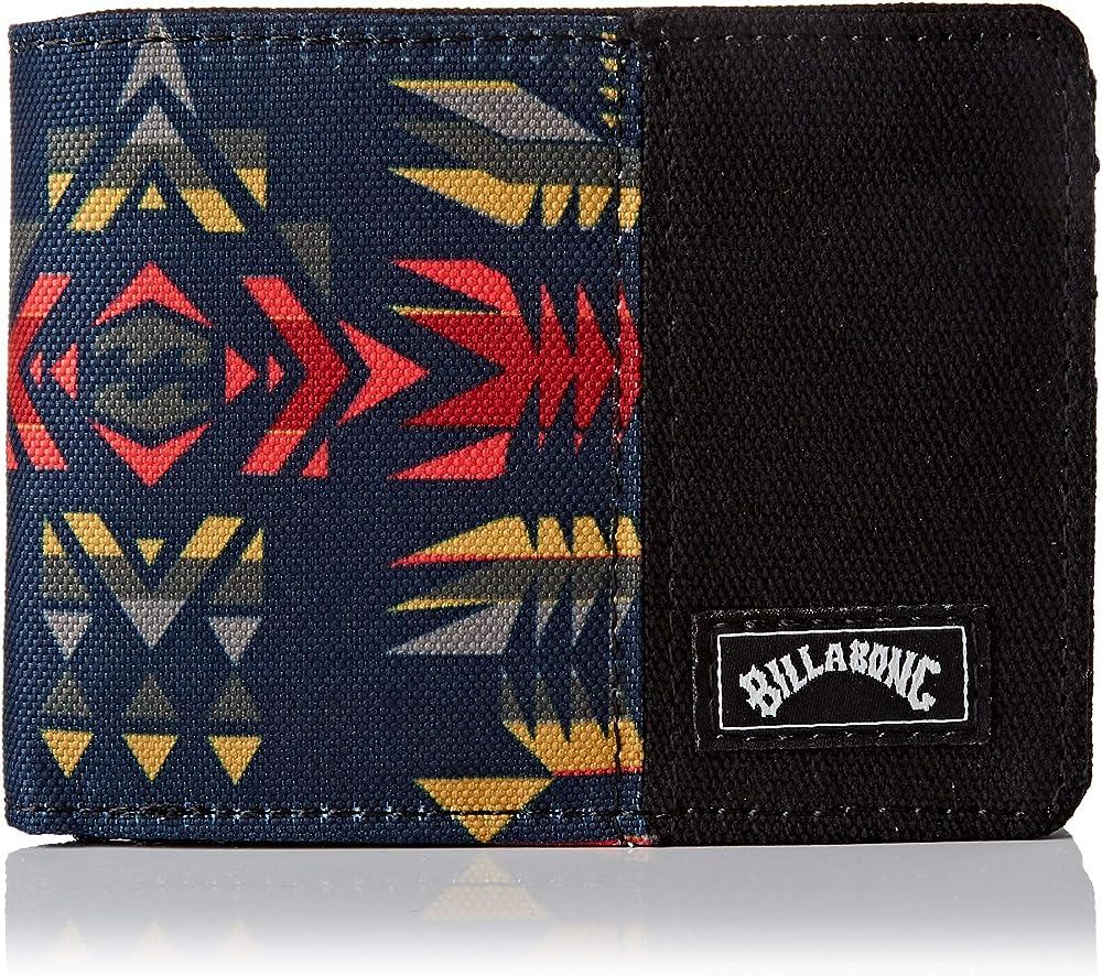 Billabong tides wallet, portafoglio portafoglio a doppia piega, in cotone al 100%, con protezione rfid U5WM08