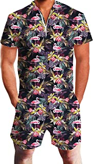 Men's Romper Jumpsuit 3D Pattern One Piece Outfits Short Sleeve Zipper Overall with Pocket