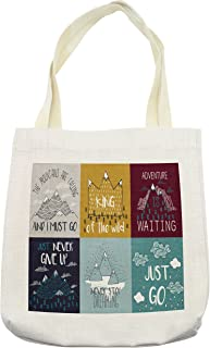 Lunarable Tote Bag, Inspirational and Motivational Life Phrase Adventure Journey Themed Illustration, Cloth Linen Reusable Bag for Shopping Groceries Books Beach Travel & More, Cream