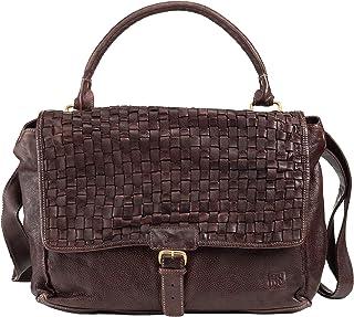 DUDU Tasche Damen mit Trageriemen Geflochten Groß aus Vintage-Leder mit Verschluss mit Reißverschluss und Klappe Cocoa Brown