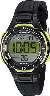 Armitron Women's 45/7062LGN Lime Green Accented Digital Chronograph Black Resin Strap Watch