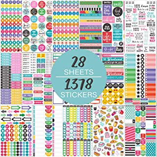 Planner Stickers Pack / 28 Sheets / 1378 Stickers, Stylish Variety Assortment Bundle Planner Accessories for Planning or D...