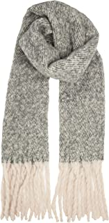 Herringbone Mohair Look Fringed Scarf, Grey and White Colour