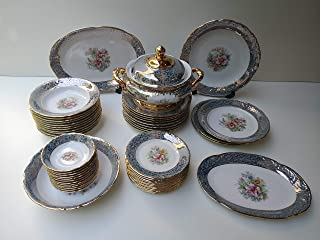 Set piatti per 12 persone turchese lucido floreale Made in Italy