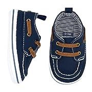 Carter's Boys Boat Shoe, Navy, 6-9 Months, Size 3 Regular US Infant