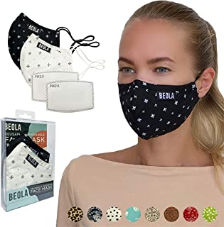 BEOLA Washable Fashion Face Mask Non Medical Reusable With Filter Reusable Bella Adult Woman Man Fashion (Lucia 2 pcs No V...