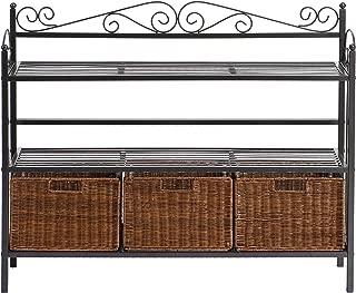 Celtic 3 Drawer Storage Shelf - Rattan Baskets w/ Wrought Iron - Black Finish