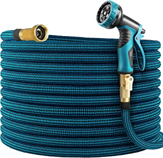 WHIMSWIT 100FT Garden Hose Expandable Hose, Flexible Water Hose with Spray Nozzle, Car Wash Hose with Solid Brass Connecto...