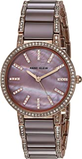 Anne Klein Women's AK/3306MVRG Swarovski Crystal Accented Rose Gold-Tone and Mauve Ceramic Bracelet Watch