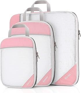 Compression Packing Cubes, Gonex Extensible Storage Mesh Bags Organizers, (L+M+S) Pink ((L+M+S) Pink) - Gonex-GXGN0014J