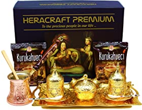 HeraCraft Premium Turkish Greek Arabic Coffee & Espresso Making Serving Gift Set with Copper Pot Coffee Maker, Cups Saucers, Tray, Sugar Bowl,Spoons & 2x 3.5 Oz Coffee.17 Pieces (gold)