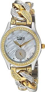 Burgi Women's Quartz Stainless Steel Casual Watch, Cuban Link Chain with Swarovski Crystals (Model BUR177)