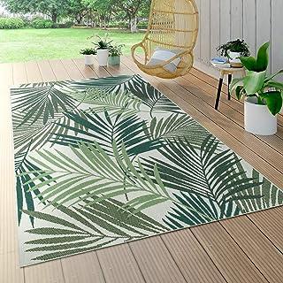 Tapis Intérieur & Extérieur Tissage À Plat Jungle Découpé Design Palmiers Floral Vert, Dimension:160x230 cm