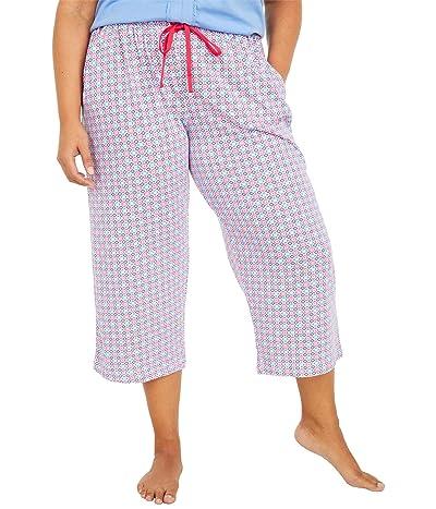 Karen Neuburger Plus Size Sunday In Sorrento Capris Pants (Red Rose Geo) Women