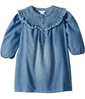 Chloe Kids - Light Denim Dress, Constrasting Stitching On The Neckline (Infant/Toddler)