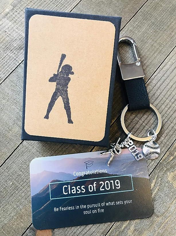 Softball Baseball 2019 Graduation Key Chain Gift with Card for Baseball Player ~ Masculine ~ Keepsake ~ Softball Key Chain with Gift Packaging 2019 Graduation Gift