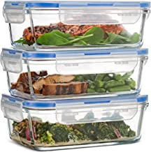 Superior Glass Meal Prep Containers – 3-pack (28oz) BPA-free Airtight Food Storage..