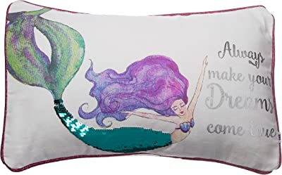"DEI Mermaid PILLOW, 16""x10"", Multicolored"
