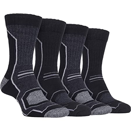 Storm Bloc - 4 Pairs Mens Cushioned Anti Blister Breathable Ribbed Hiking Socks with Arch Support