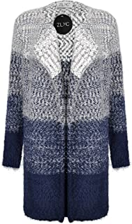 Women Soft Fluffy Dip Dye Chunky Knitted Cardigan Gradient Color Sweater