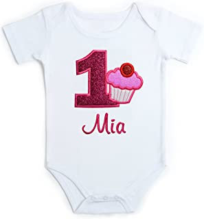 Embroidered Glitter Cupcake First Birthday Onesie Bodysuit for Baby Girl with Your Custom Name