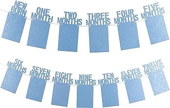 Whaline 1st Birthday Baby Photo Banner for Newborn to 12 Months, Monthly Milestone Photograph Bunting Garland, First Birthday Celebration Decoration (Blue)