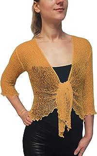 MIMOSA Damen Crochet Strecken Fisch-Netz Boleroshrug Mutterschaft Krawatte an der Taille Cardigan