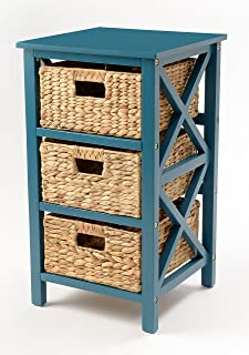 3 Tier X-Side End Table/Storage Cabinet with 3 Baskets(Teal)