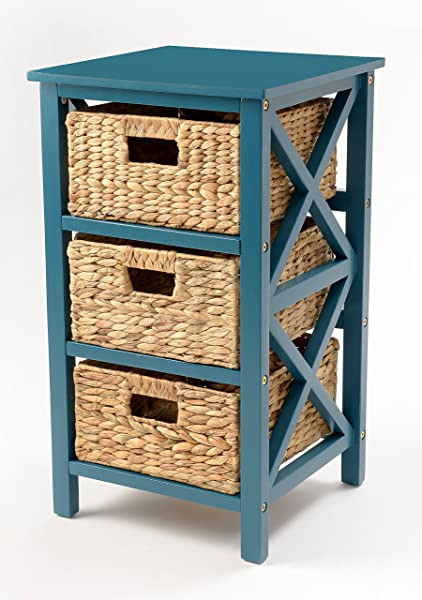 EHemco 3 Tier X Side End Table Storage Cabinet With 3 Baskets Teal