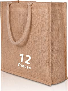 1 to 12 Piece Natural Jute Burlap Reusable Bags Cotton Laminated Inside Grocery Shopping Bag