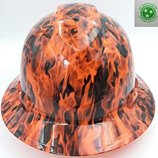 Wet Works Imaging Customized Pyramex Full Brim Hi Vis Orange Wicked Fire Hard Hat With Ratcheting Suspension