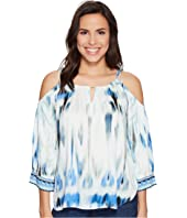 Hale Bob - Sun Streaked Rayon Stretch Satin Cold Shoulder Top