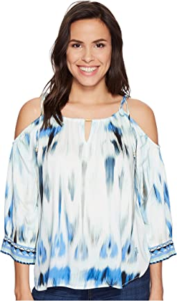 Sun Streaked Rayon Stretch Satin Cold Shoulder Top