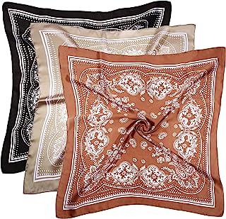 3 Pcs 27 Inches Satin Head Scarf Hair Scarf Silk Head Scarf Silk Bandana Silk Hair Wrap Neck Scarf Square Scarf for Women ...