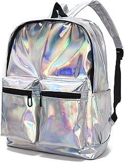 CYBERNOVA Fashion Laser PU Leather Backpack Holographic Rucksack Bling Glitter Casual Daypack, Laptop Bag, Shoulder Bag Handbag (Silver)