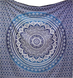 raajsee Indian Tapestry Mandala Wall hangings Queen Elephant Peacock Lion Boho Bohemian Hippy Hippie Dorm Decor Bedspread 220240 cms(9585 inches) (Blue Ombre)