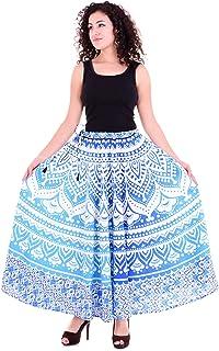 Handicraft-Palace Blue Ombre Mandala Printed Skirt High Waist Pleated Cotton Long Women's Skirt