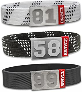 BRAYCE Hockey Bracelet with Your Jersey Number 00-99 I Shoe lace & Puck Style I Durable Like an ice Hockey Stick & a NHL Jersey