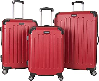 """Kenneth Cole Reaction Renegade 8-Wheel Hardside Expandable 3-Piece Set: 20"""" Carry-On, 24"""", 28"""" Luggage, Red"""