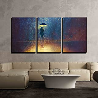 wall26 - 3 Piece Canvas Wall Art - Lonely Woman Under Umbrella Lights in The Dark,Digital Painting - Modern Home Decor Stretched and Framed Ready to Hang - 24