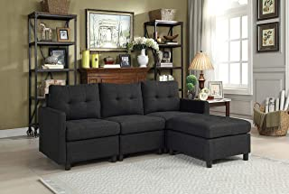 DAZONE Modular Sectional Sofa Assemble 4-Piece Modular Sectional Sofas Bundle Set Cushions, Easy to Assemble Left & Right Arm Chair & Armless Chair & Ottoman Living Room Set Sofas Charcoal Black