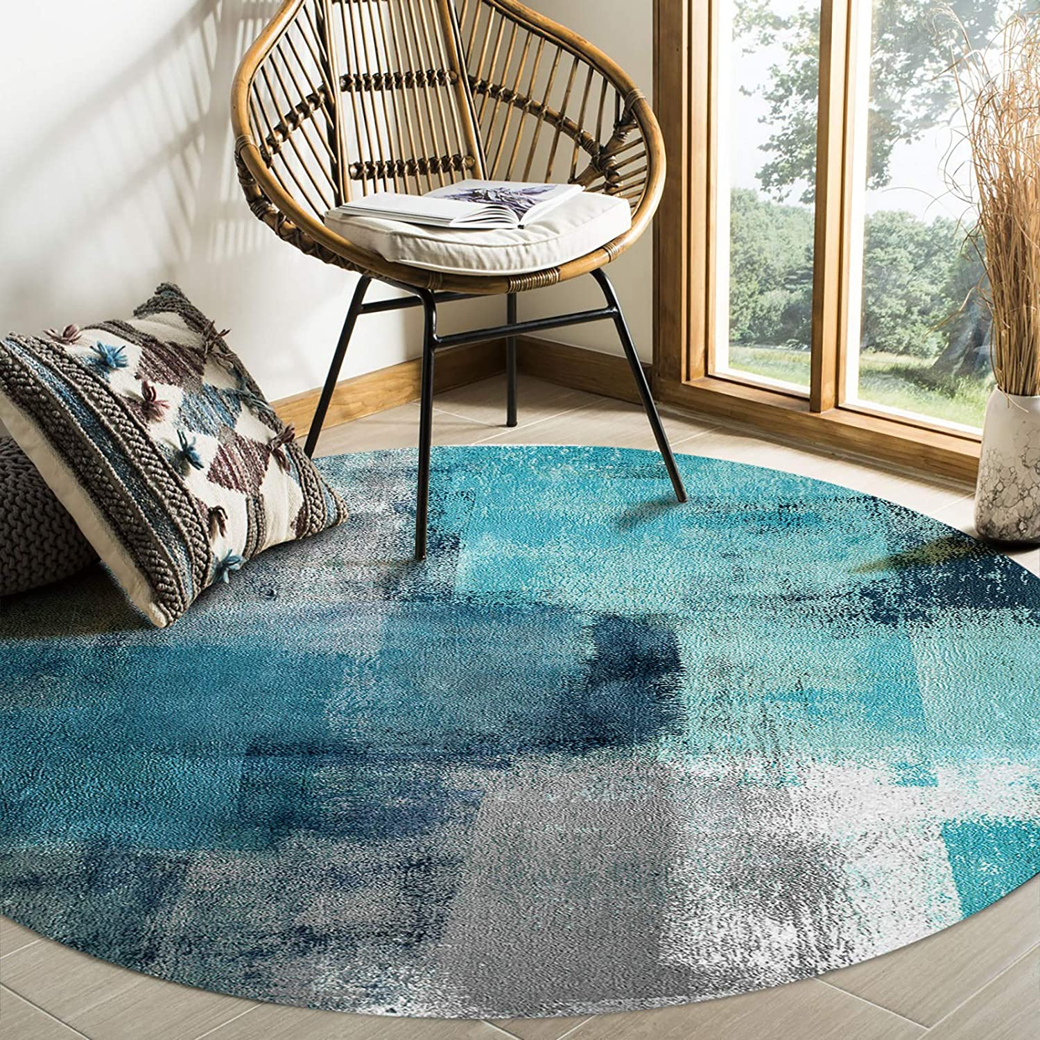 Large Round Area Rug 送料無料 新品 for Living Room and Grey ついに入荷 Turquoise Abstract